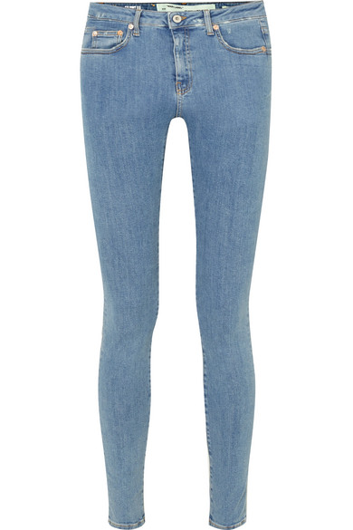 Off-White - Printed Mid-rise Skinny Jeans - Mid denim