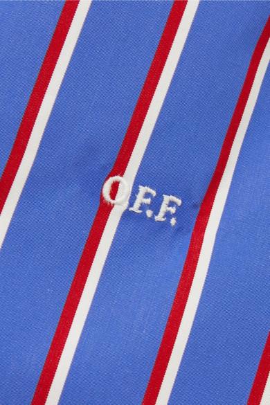 Off-White Oberteil aus gestreiftem Baumwoll-Twill mit Cut-outs