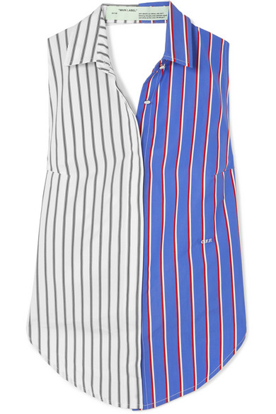 Off-White - Cutout Striped Cotton-twill Top - Blue