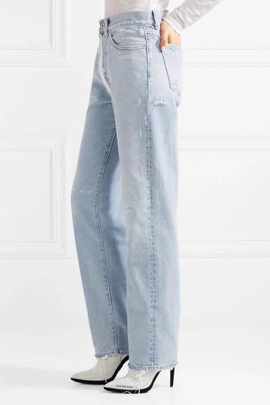 Off-White Hoch sitzende Jeans mit geradem Bein in Distressed-Optik