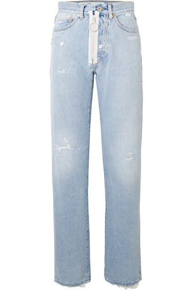 Off-White - Distressed High-rise Straight-leg Jeans - Light denim