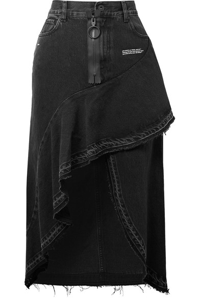Off-White - Asymmetric Ruffled Denim Skirt - Black