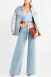 Cropped distressed denim bustier top