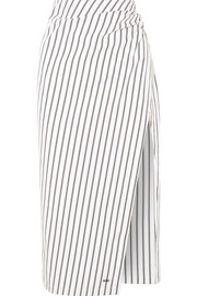 Draped striped cotton-poplin skirt
