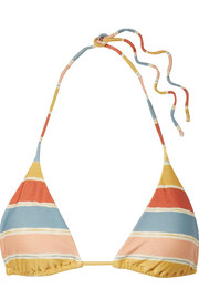 Guadalupe striped triangle bikini top