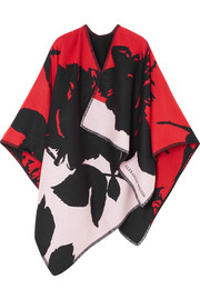 Reversible instarsia wool and cotton-blend cape