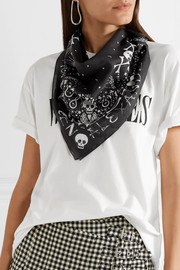 Printed cotton-voile scarf