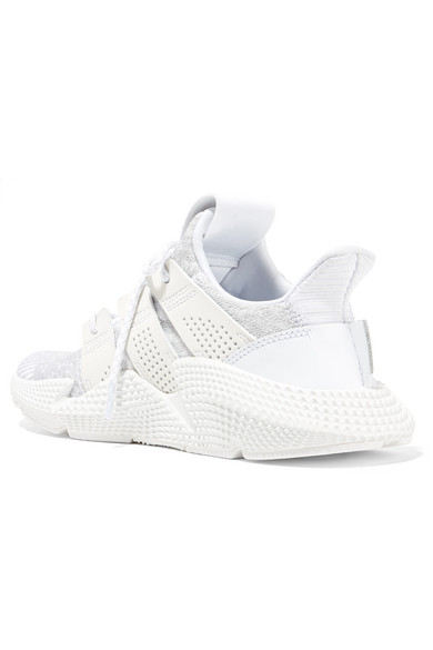 Prophere Faux Leather And Rubber-trimmed Stretch-knit Sneakers - White adidas Originals SGAN2Q8