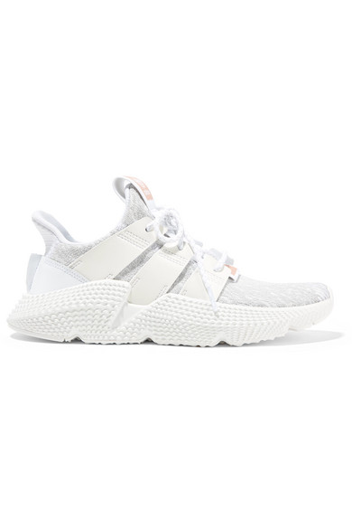Prophere Faux Leather And Rubber-trimmed Stretch-knit Sneakers - White adidas Originals HOs6nhQSUb