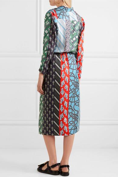 Carven Mehrlagiges Kleid aus bedrucktem Seiden-Twill