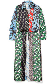 Layered printed silk-twill dress