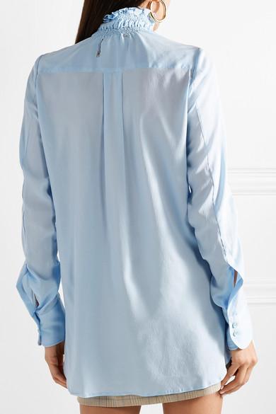 Carven Gesmoktes Hemd aus Crêpe de Chine aus Stretch-Seide