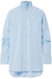 Smocked stretch-silk crepe de chine shirt