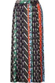 Carven Pleated printed silk-twill midi skirt
