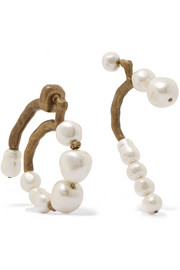 Carven Gold-tone faux pearl earrings