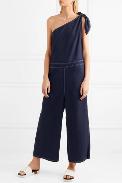 63f657354bfe One-shoulder denim jumpsuit