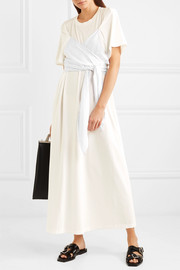 Pinstriped poplin-paneled cotton-jersey maxi dress