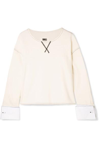 MM6 Maison Margiela Sweatshirt aus Frottee aus einer Baumwollmischung mit Popeline-Besatz