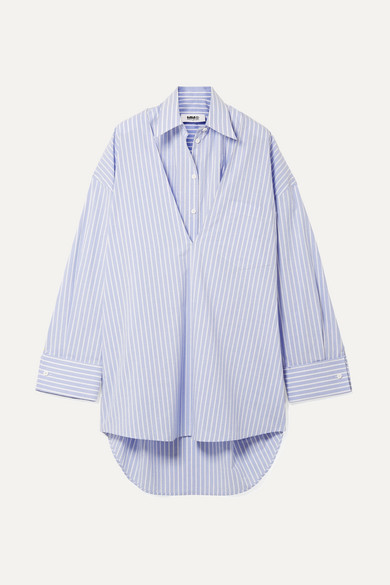 MM6 Maison Margiela Wandelbares Oversized-Kleid aus gestreifter Baumwollpopeline