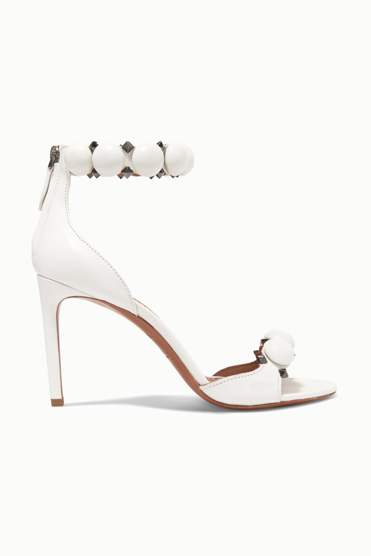 Alaïa Bombe 90 铆钉皮革凉鞋