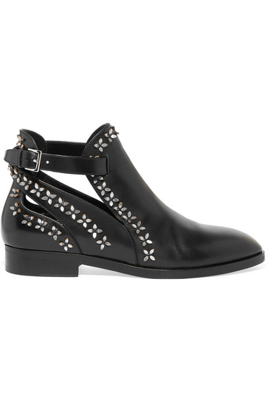 Petal-Embellished Leather Ankle Boots