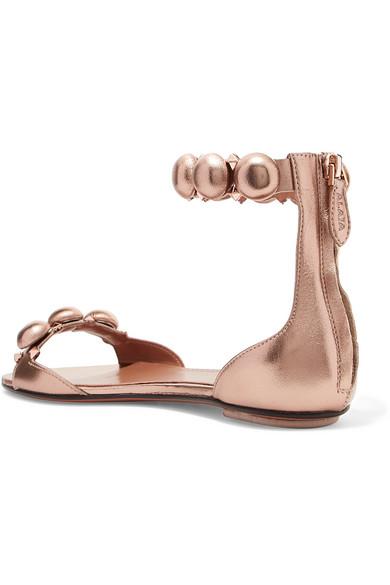 Alaïa | mit Bombe Sandalen aus Metallic-Leder mit | Nieten 84b8e6