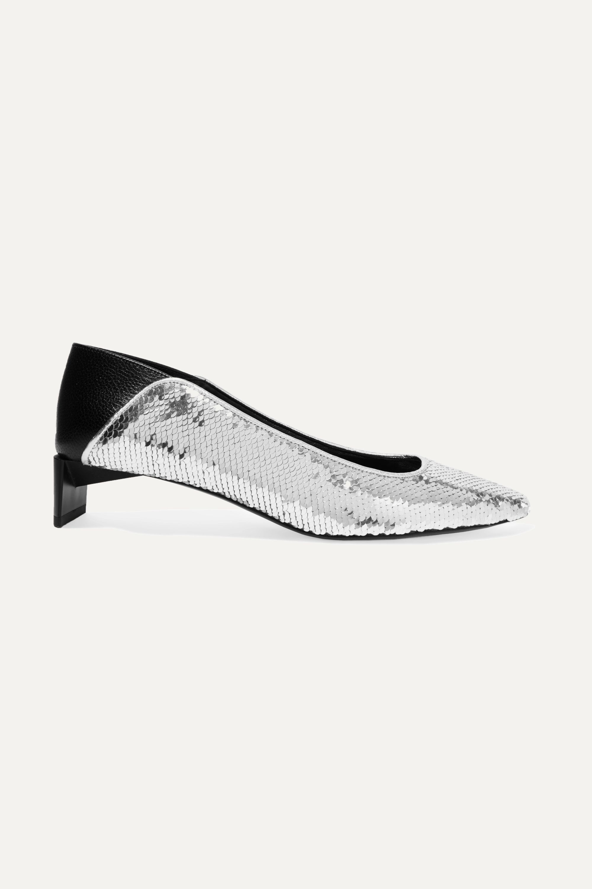 Loewe Leather-paneled sequined canvas collapsible-heel pumps