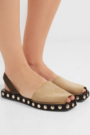 Studded suede and leather slingback espadrille sandals