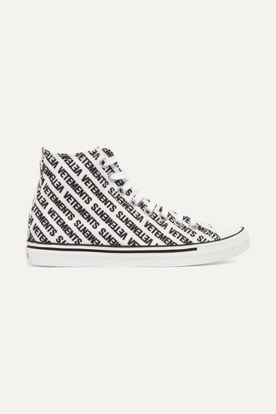 20Mm Logo Print Canvas High Top Sneakers in White