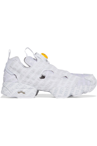 + Reebok Logo Instapump Fury Logo-Print Leather And Mesh Sneakers in White