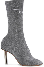 Vetements Logo-jacquard stretch-knit sock boots