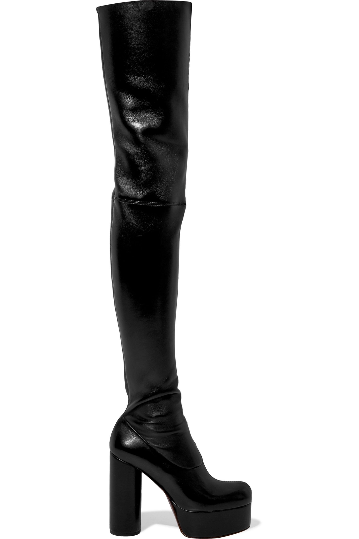 Black Leather platform thigh boots