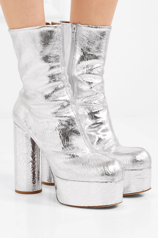 Silver Metallic textured-leather