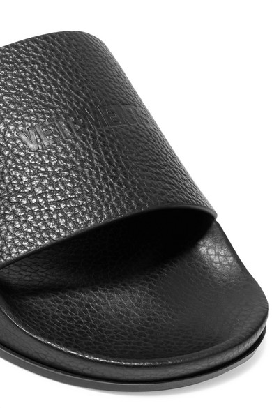 Vetements Mules Made Of Textured Leather With Logo Embossing