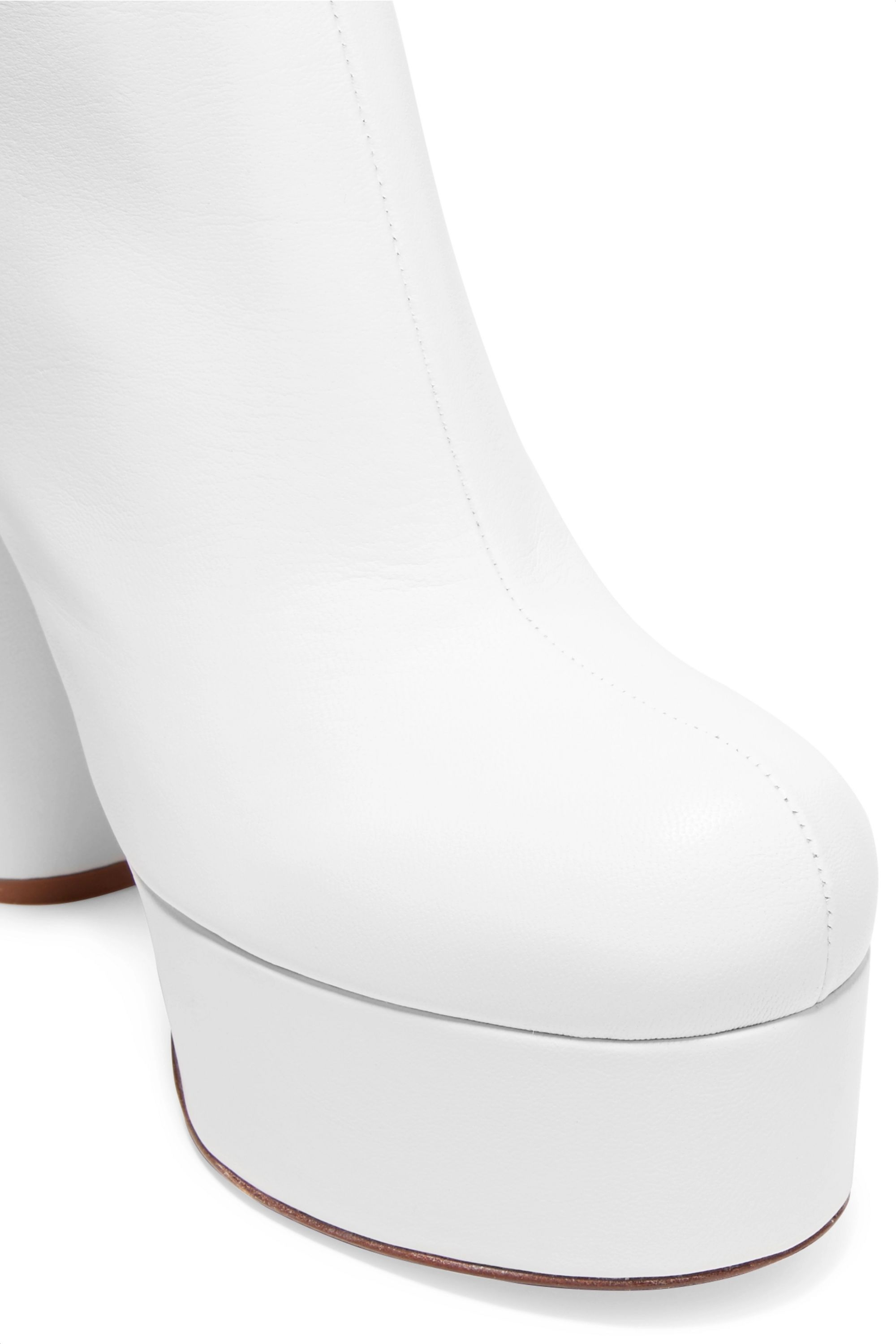 White Leather platform ankle boots