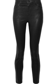 Alana cropped high-rise leather skinny pants