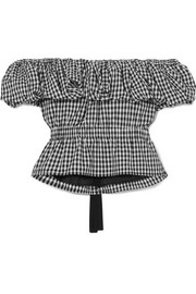 Mina off-the-shoulder gingham cotton top