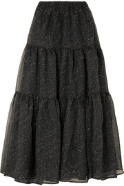 Eva tiered embroidered organza maxi skirt