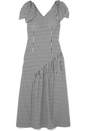 Lily bow-detailed gingham cotton midi dress