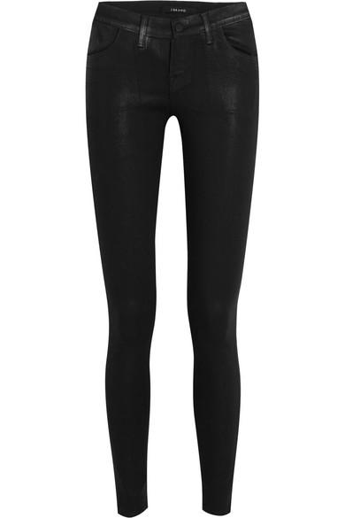 J Brand 620 Super Skinny halbhohe Jeans mit Beschichtung