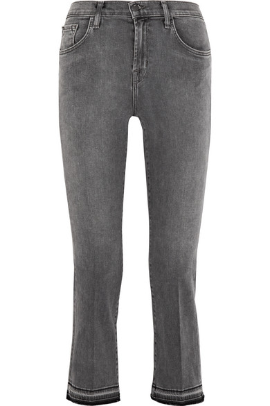 Selena Cropped Mid-Rise Bootcut Jeans, Gray