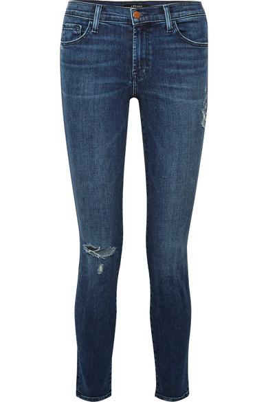 J Brand 811 halbhohe Skinny Jeans in Distressed-Optik