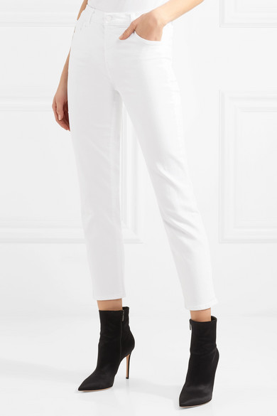 J Brand Ruby verkürzte, hoch sitzende Jeans mit geradem Bein