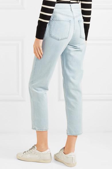 J Brand Wynne hoch sitzende Jeans mit geradem Bein in Distressed-Optik