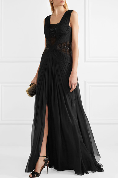 Zuhair Murad Ornate Robe Of Silk Chiffon With Tulle Inserts And Ruffles
