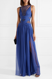 Embellished organza and silk-blend chiffon gown