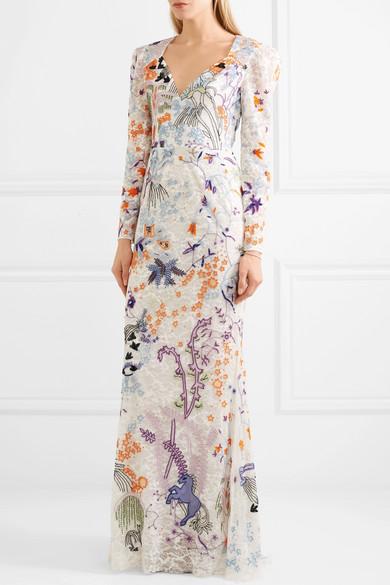 Zuhair Murad Verzierte Robe aus Tüll aus einer Seidenmischung und Spitze