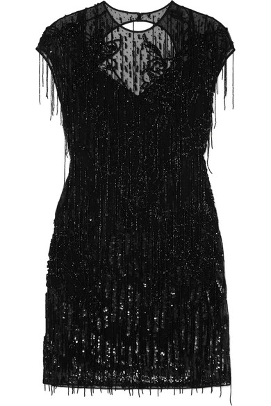 Zuhair Murad Verziertes Kleid aus Tüll aus einer Seidenmischung mit Fransen