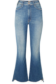 Mother The Hustler Two Step frayed high-rise flared jeans