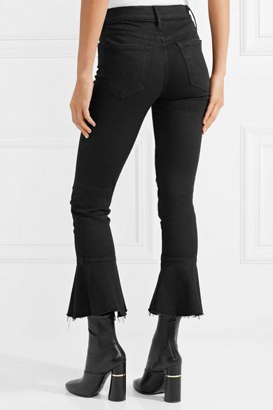 Mother The Cha Cha hoch sitzende Jeans mit schmalem Bein und Rüschen